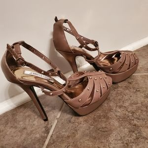 J. Lo salsa blush studded platform heels EUC